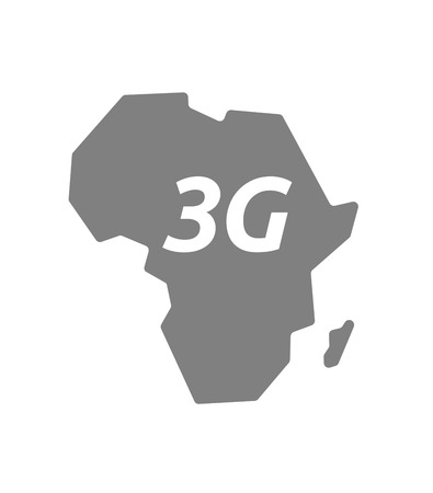 3g: Illustration of an isolated Africa continent map icon with     the text 3G