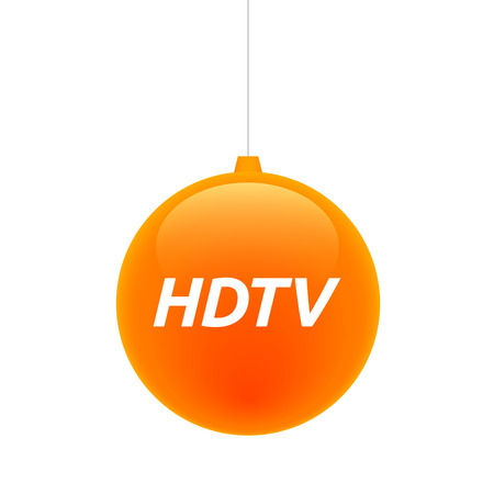 hdtv: Illustration of an isolated cristal christmas ball icon with    the text HDTV