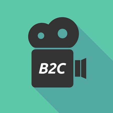 b2c: Illustration of a long shadow cinema camera icon with    the text B2C