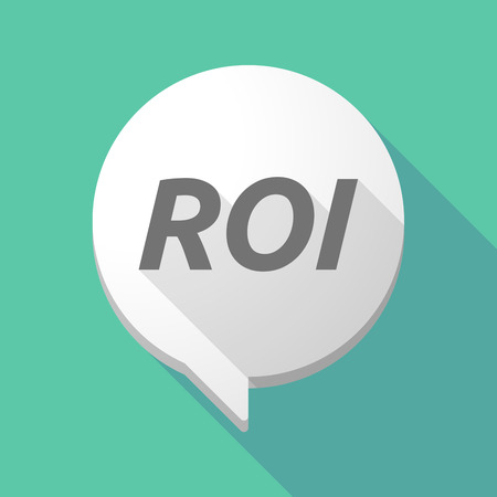 Illustration of a long shadow comic balloon icon with    the return of investment acronym ROI