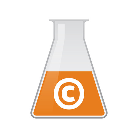 Illustration of an isolated chemical test tube icon with    the  copyright sign