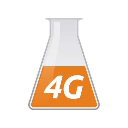 Illustration of an isolated chemical test tube icon with    the text 4G Illustration