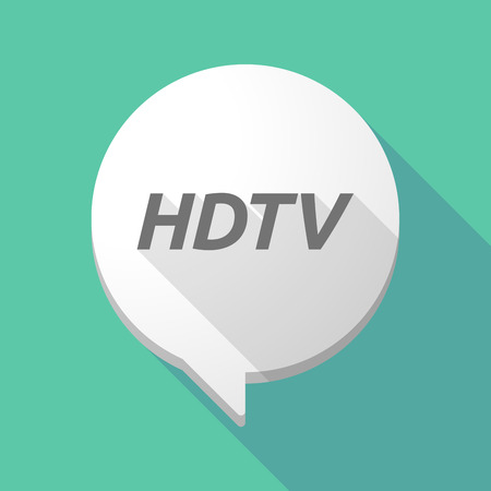 Illustration of a long shadow comic balloon icon with    the text HDTV Illustration