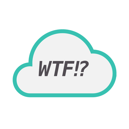 Illustration of an isolated line art cloud icon with    the text WTF!?