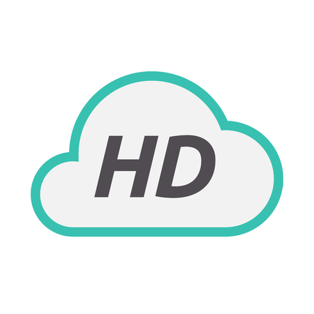 Illustration of an isolated line art cloud icon with    the text HD