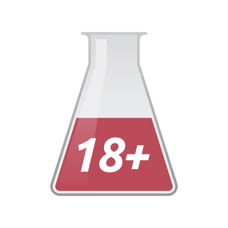 over lab: Illustration of an isolated chemical test tube icon with    the text 18+ Illustration