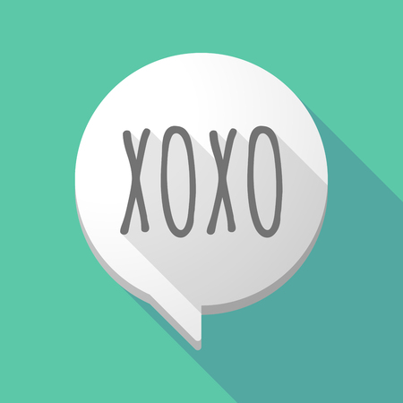 Illustration of a long shadow comic balloon icon with    the text XOXO Illustration
