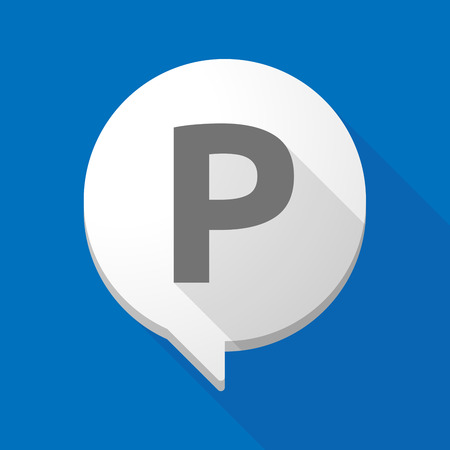 Illustration of a long shadow comic balloon icon with    the letter P