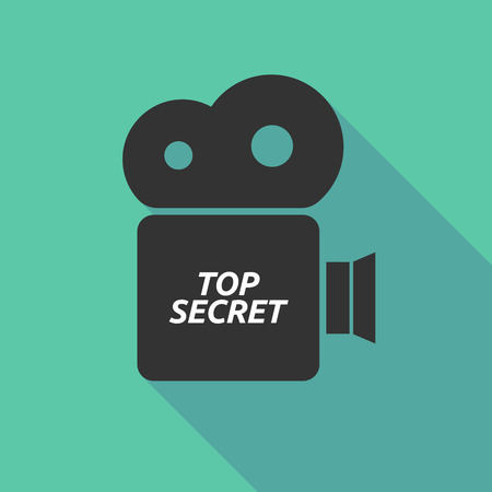secret word: Illustration of a long shadow cinema camera icon with    the text TOP SECRET