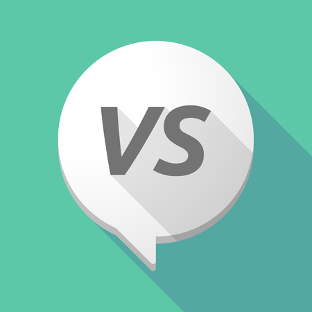 vs: Illustration of a long shadow comic balloon icon with    the text VS Illustration