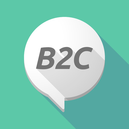 Illustration of a long shadow comic balloon icon with    the text B2C