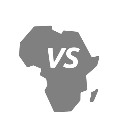 vs: Illustration of an isolated Africa continent map icon with     the text VS