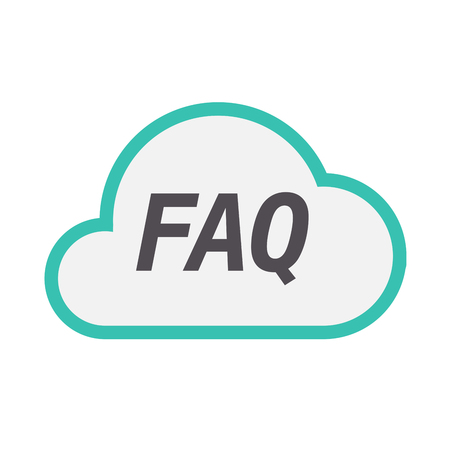 Illustration of an isolated line art cloud icon with    the text FAQ