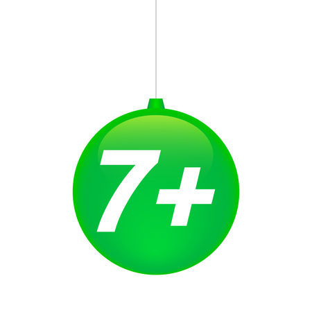 Illustration of an isolated cristal christmas ball icon with    the text 7+