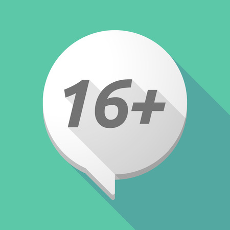 Illustration of a long shadow comic balloon icon with    the text 16+