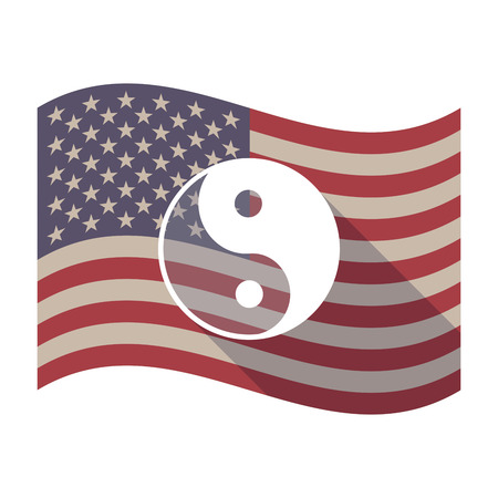 yinyang: Illustration of an isolated long shadow waving United States of America flag with a ying yang Illustration