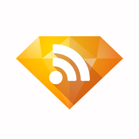 really simple syndication: Illustration of an solated diamond icon with an RSS sign