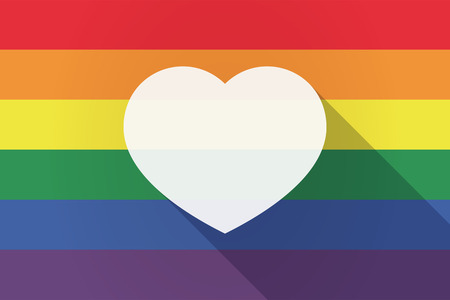 Illustration of a long shadow lgbt gay pride flag with a heart