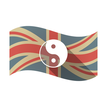 Illustration of an isolated long shadow waving Union Jack United Kingdom flag with a ying yang Illustration