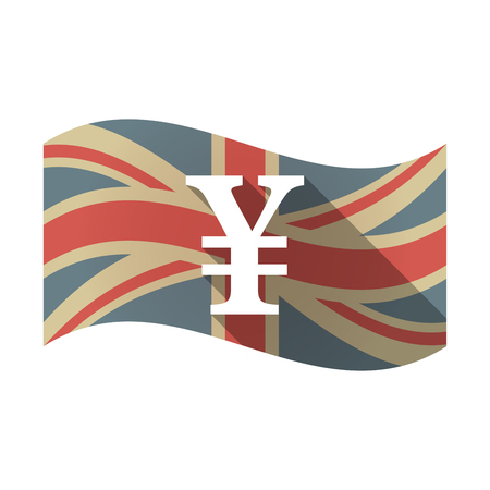 Illustration of an isolated long shadow waving Union Jack United Kingdom flag with a yen sign