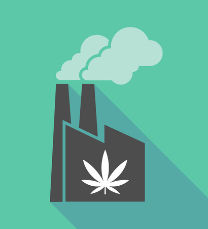 chimney pot: Illustration of a long shadow factory icon with a marijuana leaf
