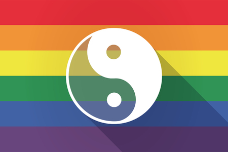 Illustration of a long shadow lgbt gay pride flag with a ying yang