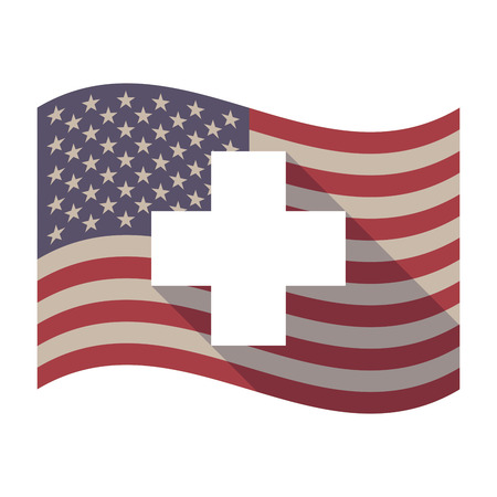 cross bar: Illustration of an isolated long shadow waving United States of America flag with a pharmacy sign Illustration
