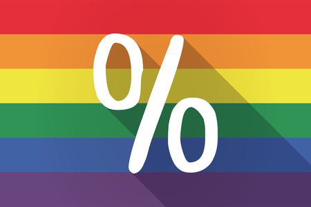 Illustration of a long shadow lgbt gay pride flag with a discount sign