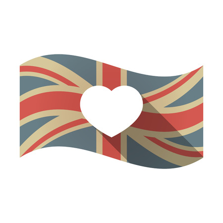 Illustration of an isolated long shadow waving Union Jack United Kingdom flag with a heart