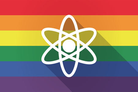 nuclear fusion: Illustration of a long shadow lgbt gay pride flag with an atom
