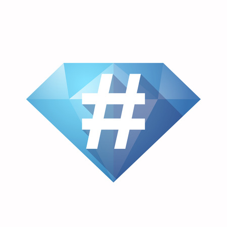 hash: Illustration of an solated diamond icon with a hash tag Illustration