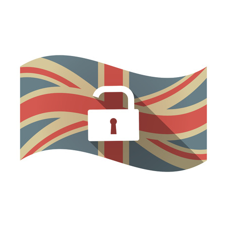 Illustration of an isolated long shadow waving Union Jack United Kingdom flag with an open lock pad