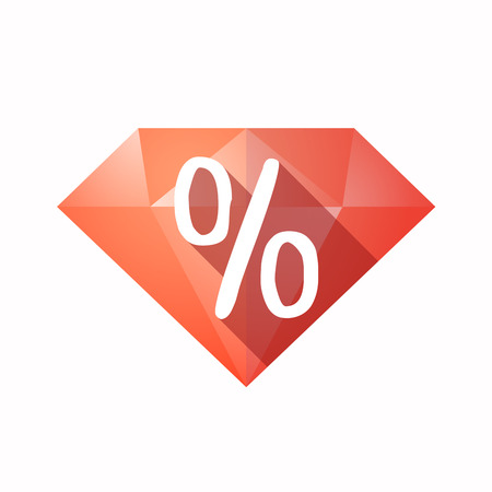 carat: Illustration of an solated diamond icon with a discount sign
