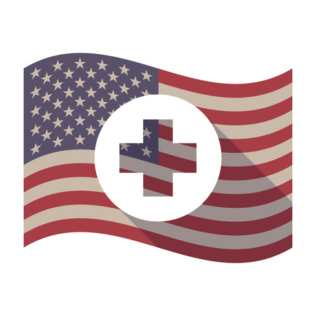 cross bar: Illustration of an isolated long shadow waving United States of America flag with a round pharmacy sign Illustration