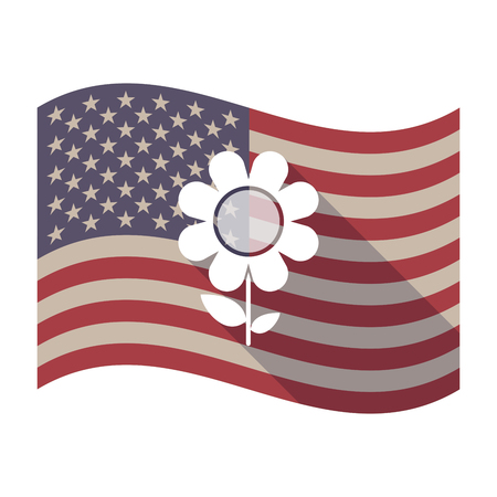 Illustration of an isolated long shadow waving United States of America flag with a flower