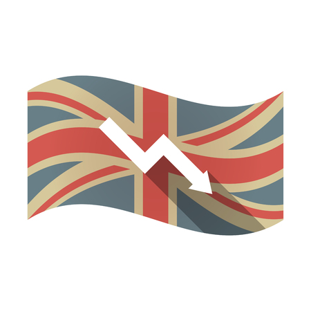 descending: Illustration of an isolated long shadow waving Union Jack United Kingdom flag with a descending graph