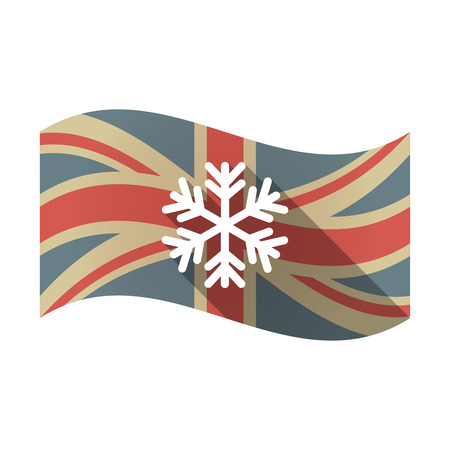 Illustration of an isolated long shadow waving Union Jack United Kingdom flag with a snow flake