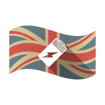 lithium: Illustration of an isolated long shadow waving Union Jack United Kingdom flag with a battery