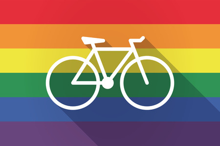 Illustration of a long shadow lgbt gay pride flag with a bicycle  イラスト・ベクター素材