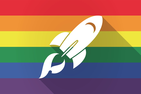 Illustration of a long shadow lgbt gay pride flag with a rocket