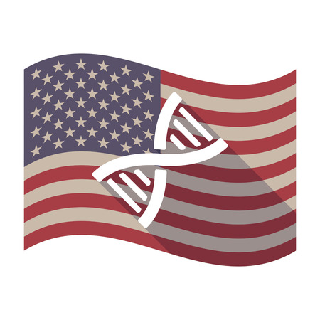 transgenic: Illustration of an isolated long shadow waving United States of America flag with a DNA sign Illustration