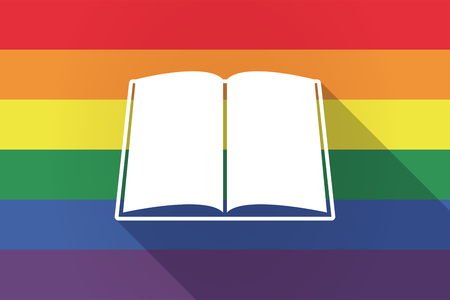 page long: Illustration of a long shadow lgbt gay pride flag with a book