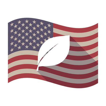 Illustration of an isolated long shadow waving United States of America flag with a leaf