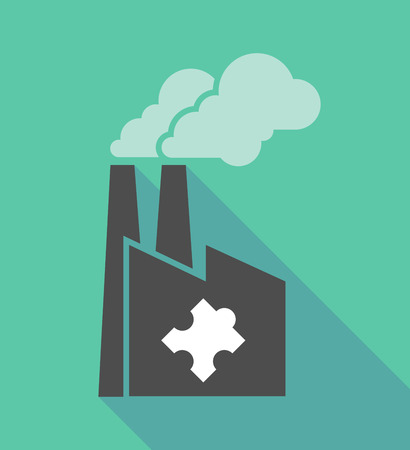 puzzle shadow: Illustration of a long shadow factory icon with a puzzle piece