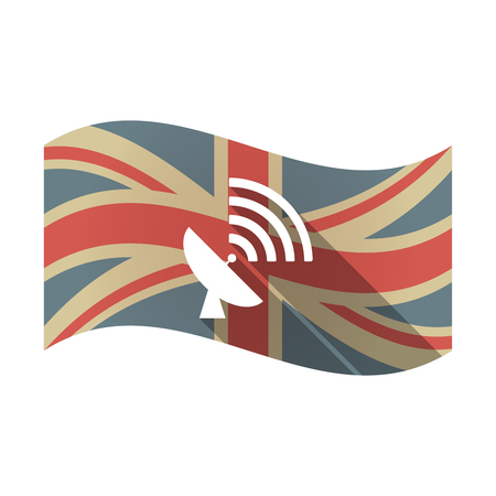 receiver: Illustration of an isolated long shadow waving Union Jack United Kingdom flag with a satellite dish Illustration