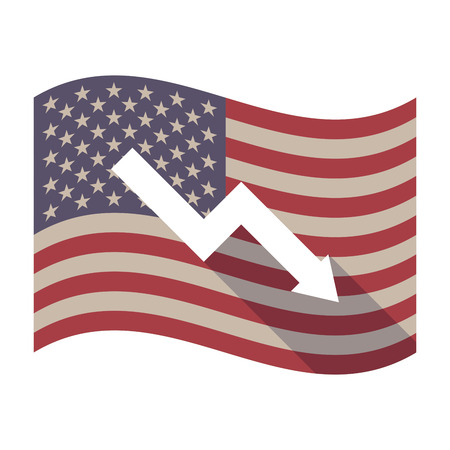 descending: Illustration of an isolated long shadow waving United States of America flag with a descending graph