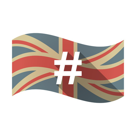 Illustration of an isolated long shadow waving Union Jack United Kingdom flag with a hash tag