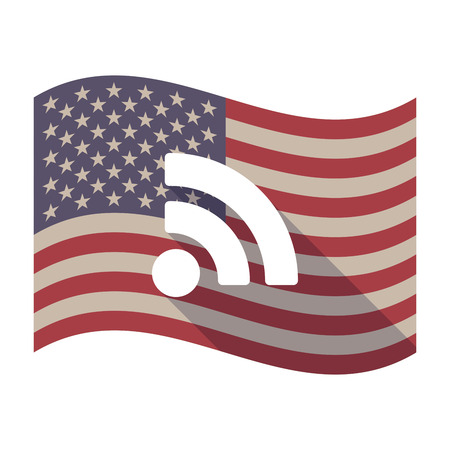 really simple syndication: Illustration of an isolated long shadow waving United States of America flag with an RSS sign
