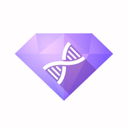 transgenic: Illustration of an solated diamond icon with a DNA sign
