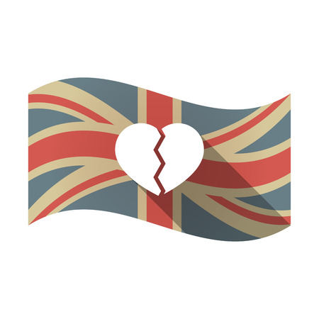 Illustration of an isolated long shadow waving Union Jack United Kingdom flag with a broken heart Illustration